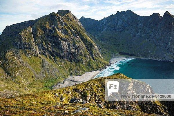 Berg  Strand  Ignoranz  Norwegen  wandern  nähern  Moskenesoy