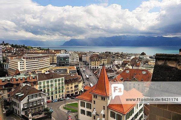 Europa Kathedrale Draufsicht Lausanne Schweiz Kanton Waadt