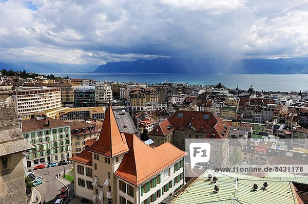 overview from the tower of the Cathedral of Notre Dame  Lausanne  Canton of Vaud  Switzerland  Europe.