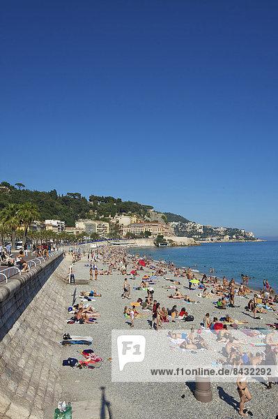 France  Europe  South of France  Cote d'Azur  Nice  beach  seashore  coast  Mediterranean Sea  promenade des Angles  seafront  promenade  bank promenade  promenade  outside  day