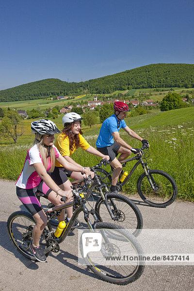 Switzerland  Europe  canton  JU  Jura  Chamoille  three  group  Lucelle  mountain bike  bike  wheel  bicycle  bicycle  bicycles  riding a bicycle