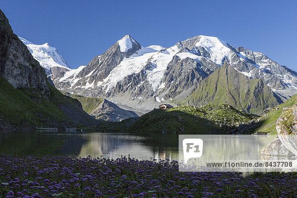 Europa Frau Berg Mann ruhen gehen Spiegelung Eis wandern 2 Bergsee Rest Überrest Schweiz