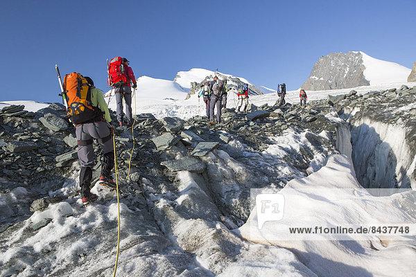 Bergsteigen Berg gehen Seil Tau Strick Tagesausflug Eis Bergwandern trekking