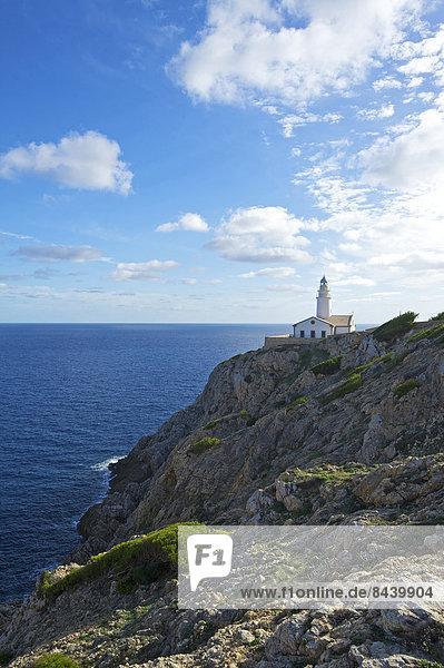 Außenaufnahme bauen Europa Gebäude Küste niemand Meer Leuchtturm Balearen Balearische Inseln Mallorca Mittelmeer Spanien
