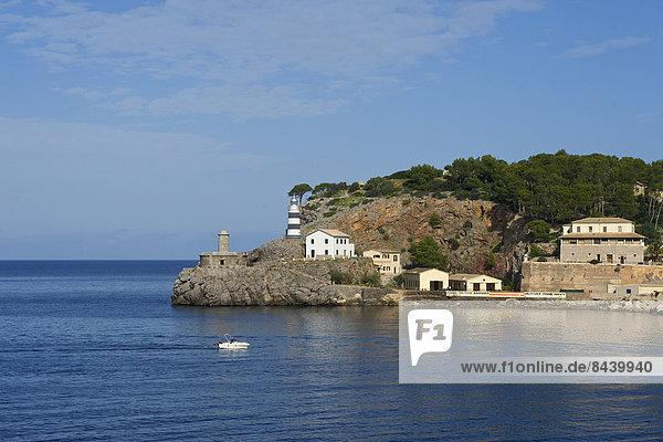 Außenaufnahme bauen Europa Gebäude Küste niemand Meer Architektur Leuchtturm Balearen Balearische Inseln Mallorca Mittelmeer Spanien