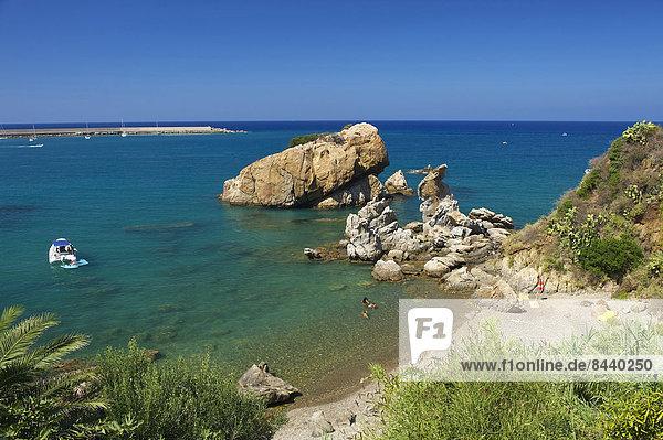 Außenaufnahme Landschaftlich schön landschaftlich reizvoll Europa Tag Strand Landschaft Küste niemand Meer Insel Cefalu Italien Mittelmeer Sizilien Süditalien