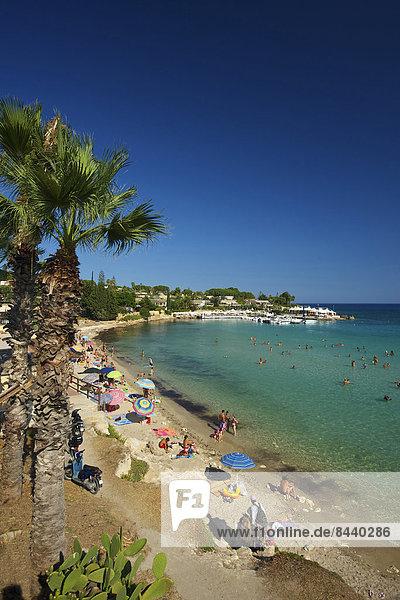 Italy  Sicily  South Italy  Europe  island  Fontane Bianche  Syracuse  palm beach  beach  seashore  coast  Mediterranean Sea  sea  palms  outside  day