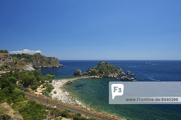 Außenaufnahme Europa Tag Strand Küste niemand Meer Insel Isola Bella Italien Mittelmeer Sizilien Süditalien Taormina