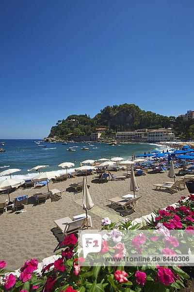 Sicily  Italy  South Italy  Europe  island  Mazzaro bay  Taormina  province Messina  beach  seashore  coast  Mediterranean Sea  sea  sunshades  outside  day