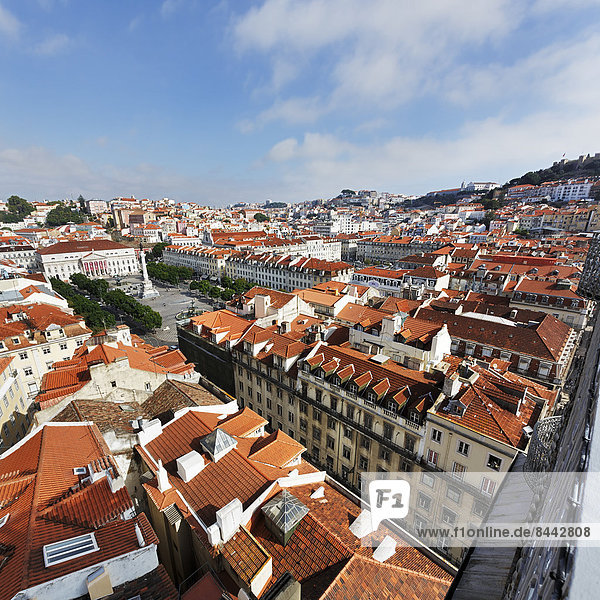 Portugal  Lisboa  Baixa  Blick auf Praca Dom Pedro IV