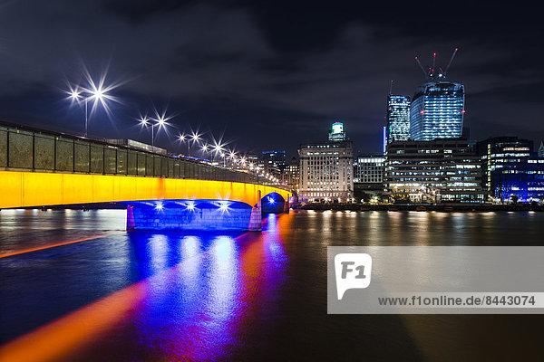 UK  London  view to illuminated London Bridge  The Pint and Leadenhall Building