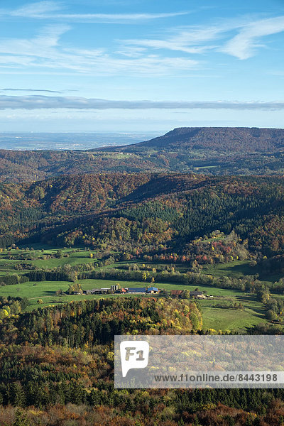 Germany  Baden Wuerttemberg  landscape  forest in autumn  view to Albtrauf