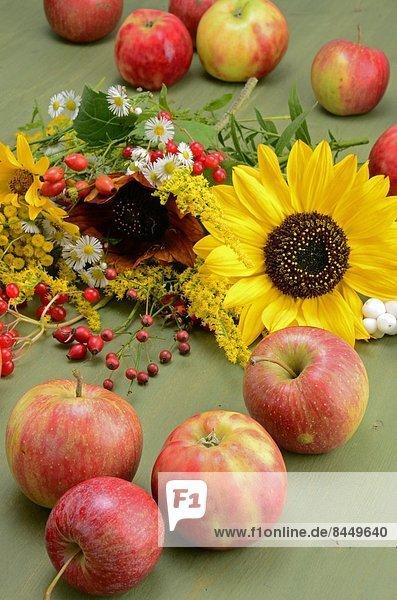 Äpfel und Blumen