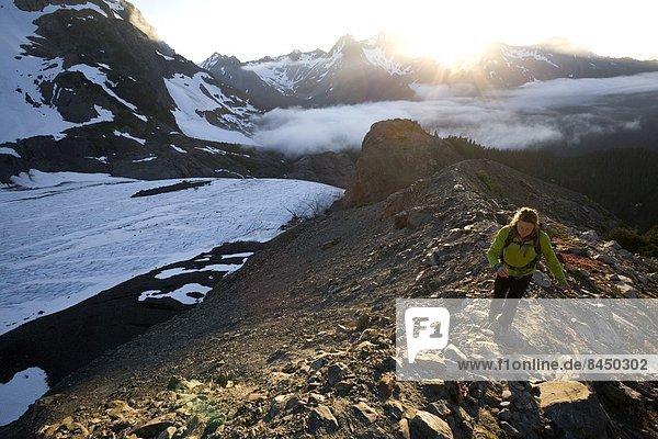 Vereinigte Staaten von Amerika  USA  nahe  Frau  wandern  Gletscher  blau  Nordamerika  Berg  UNESCO-Welterbe  Olympic Nationalpark  Washington State
