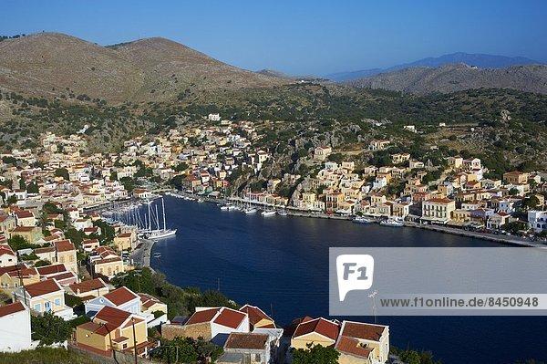 Gialos harbour  Symi  Dodecanese  Greek Islands  Greece  Europe