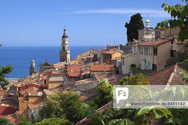 Hafen Frankreich Europa über Stadt Ansicht Provence - Alpes-Cote d Azur Menton alt
