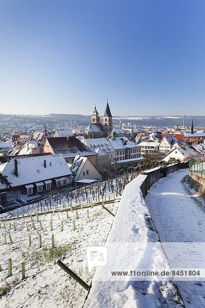 hoch  oben  Europa  Winter  Stadt  Ansicht  Flachwinkelansicht  Winkel  Deutschland  alt