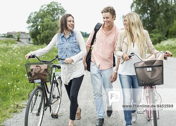 Junge Freunde mit Fahrrädern auf der Landstraße