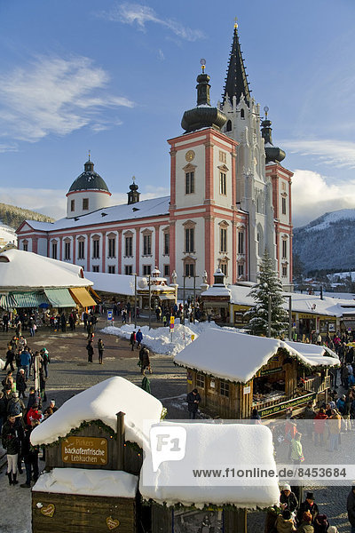 Christmas market in front of the Mariazell Basilica on the main square of Mariazell  Upper Styria  Styria  Austria