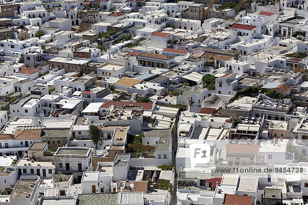 Dach Stadt Dodekanes Lindos Rhodos