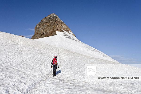Bergsteiger auf dem Pfaffensattel  hinten der Gipfel des Zuckerhütl  Nordtirol  Österreich