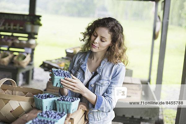Ein biologischer Obst- und Gemüsebetrieb. Eine Frau sortiert Körbchen mit Blaubeeren.