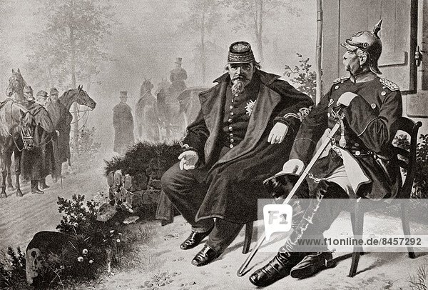 Napoleon III  left  having a conversation with Otto von Bismarck after being captured in the Battle of Sedan in 1870. Louis-Napoléon Bonaparte  1808 – 1873. First President of the French Republic and  as Napoleon III  ruler of the Second French Empire. Otto Eduard Leopold  Prince of Bismarck  Duke of Lauenburg  1815 –1898  aka Otto von Bismarck. Prussian statesman. From Edward VII His Life and Times  published 1910.