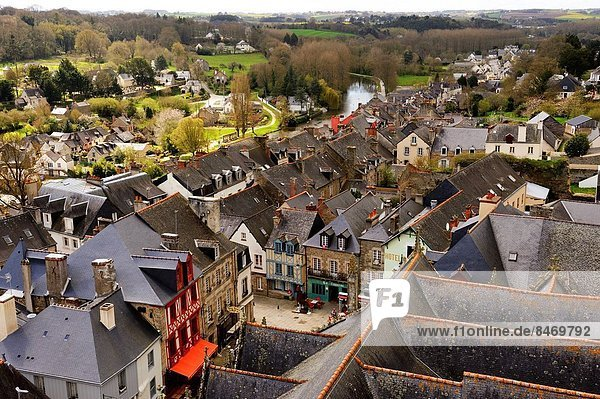 overview on the slate roof from the tower of the Basilique Notre-Dame du Roncier  Josselin  Morbihan department  Region of Brittany  France  Europe.