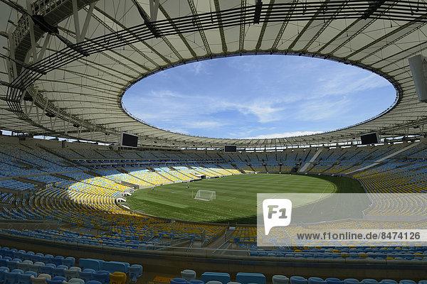 Fußball-Stadion Maracana  Ausblick von der Zuschauertribüne  Austragungsort der FIFA Fußball-Weltmeisterschaft 2014  Rio de Janeiro  Brasilien