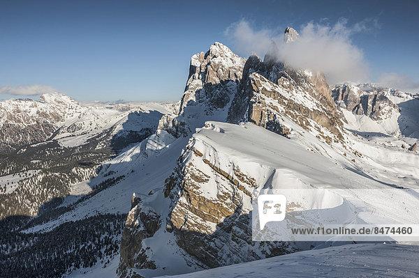 Geislergruppe  3025 m  vom Berg Seceda aus  Grödner Dolomiten  Rainelles  Trentino-Südtirol  Italien