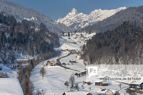 High valley in winter  road to Golm  behind the Zimba  2643m  Tschagguns  Montafon  Vorarlberg  Austria