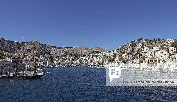 Hafen Stadt Dodekanes Griechenland Symi