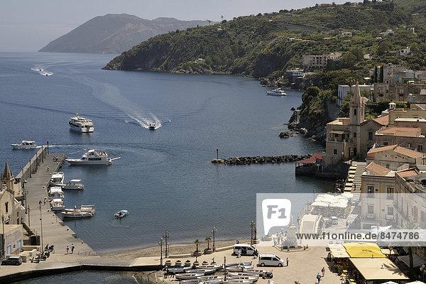 Harbor of Lipari town  Lipari island  UNESCO World Heritage site  Aeolian Islands  Italy