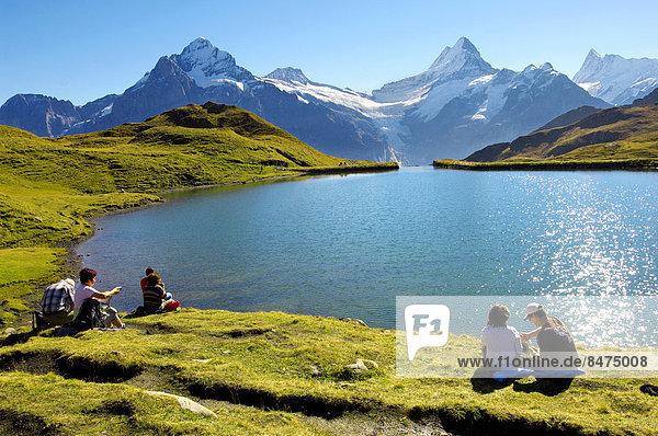 nahe Gehhilfe ruhen See Bachsee Westalpen Grindelwald Rest Überrest Schweiz Schweizer Alpen Kanton Bern