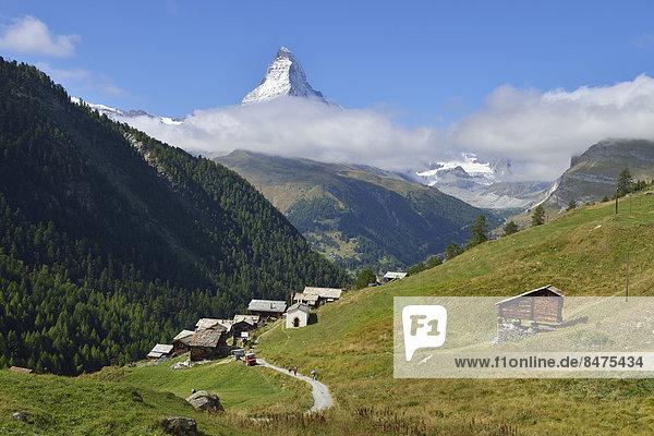 Dorf Matterhorn Fokus auf den Vordergrund Fokus auf dem Vordergrund Schweiz Zermatt