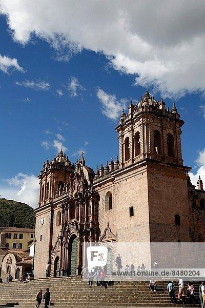 The Cathedral in Plaza de Armas  Cuzco  Peru.