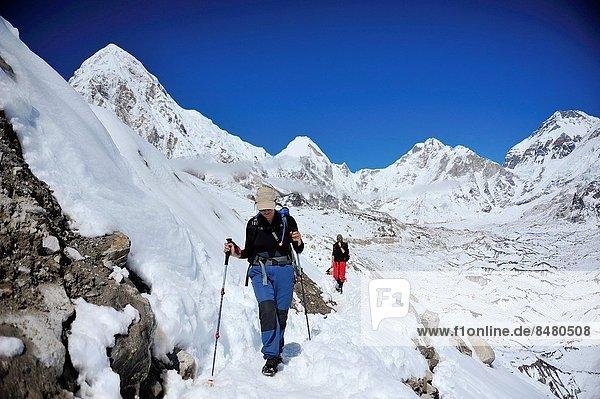 Hikers on Khumbu Glacier  Sagarmatha National Park  the Himalaya range  Khumbu area  Solukhumbu District  Sagarmatha Zone  Nepal