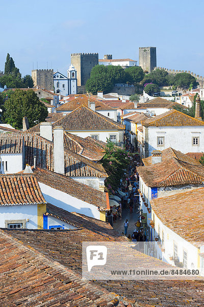 View over the rooftops of Obidos  Leiria District  Portugal