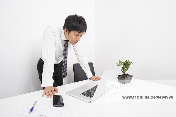 sehen  Notebook  Geschäftsmann  Büro  Mittelpunkt  Erwachsener