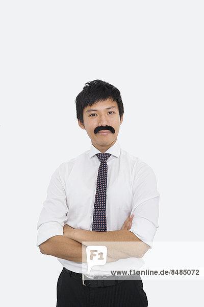 Portrait  Geschäftsmann  über  weiß  Hintergrund  Illusion  Hoffnung