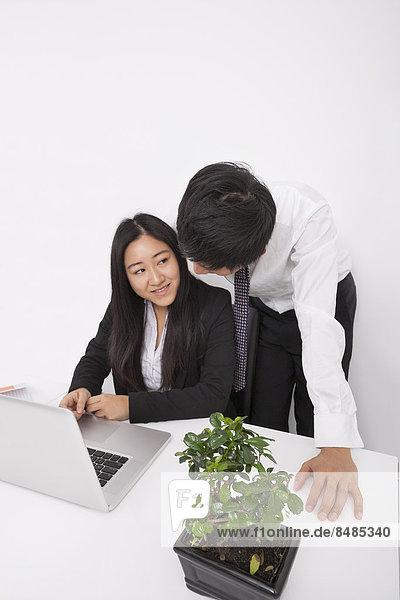 Schreibtisch  Wirtschaftsperson  Diskussion  Notebook  über  Büro
