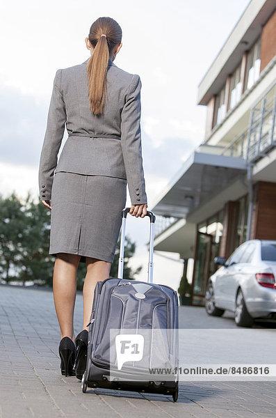 Geschäftsfrau  Rückansicht  gehen  Koffer  Ansicht  Fahrweg