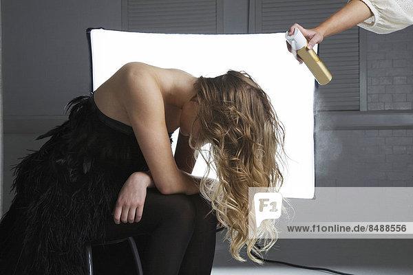 besprühen  Friseur  Produktion  Haar