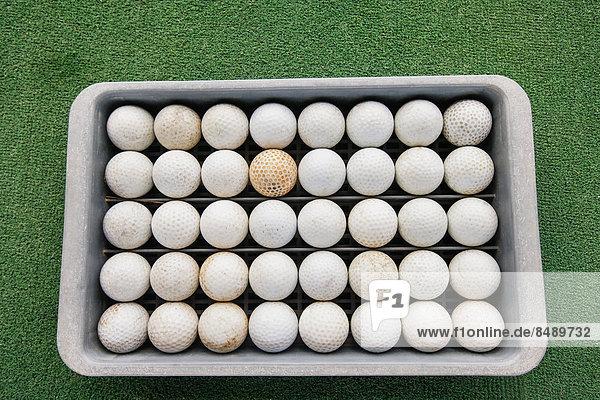 grün  Golfsport  Golf  Golfball  Reihe  Ko Phangan  Thailand