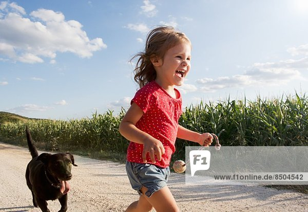 Mädchen und Hund rennen durchs Feld Mädchen und Hund rennen durchs Feld