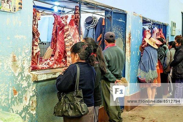 Mensch  Frische  Menschen  kaufen  Bolivien  Markt  Fleisch  Südamerika