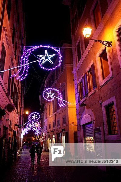 Rome  Italy 9 December 2013 Christmas lights in the centre of Rome  Italy