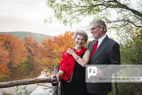 USA  Texas  Smiling elegant couple outdoors