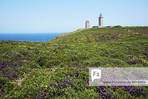 France  Bretagne  Cap Frehel  Lighthouse and landscape with gorse and heather