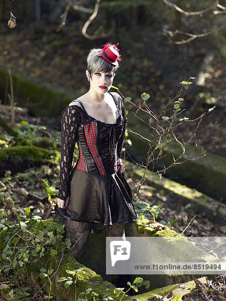 Young woman wearing Steampunk clothing,  ßictorian style